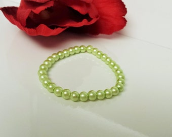 Baby Green 6mm Glass Pearl Bracelet for Bridesmaid, Flower Girl or Prom