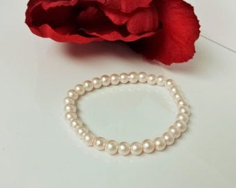 Cherry Blossom Pink 6mm Glass Pearl Bracelet for Bridesmaid, Flower Girl or Prom