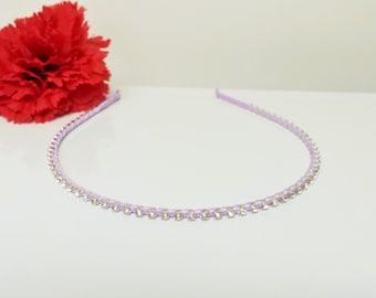 Orchid Purple Satin Ribbon Enhanced Rhinestone Bridal Headband for Bridesmaid, Prom, Flower Girl or Wedding Party