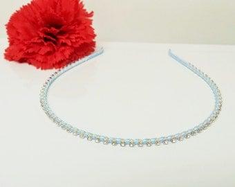 Pool Blue Satin Ribbon Enhanced Rhinestone Bridal Headband for Bridesmaid, Prom, Flower Girl or Wedding Party