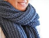Dolce Vita Scarf, Blue Shawl, Wool Scarves, Handmade Scarf, Valentine's Gift