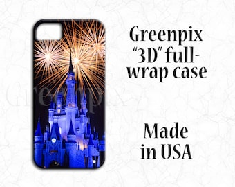 Disney fireworks iPhone 7 Plus case, Samsung Galaxy S7 S6 S5, i Phone 6 6S, iPhone 5, iphone 4, full wrap, Cinderella castle, Magic Kingdom