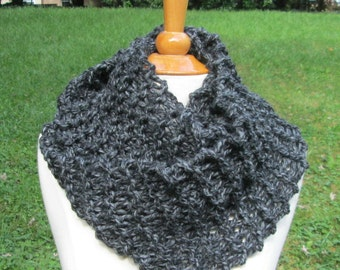 Plush Infinity Scarf Cowl in Charcoal Grey