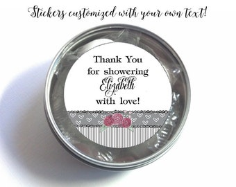 "1"", 1.5"" or 2""  Stickers, Favor Labels, Grey Stripes & Hearts, Roses, Weddings, Bridal Shower, Baby Shower, Birthday"