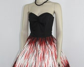 1950s Strapless Dress - Black Bustier with Full Skirt Atomic Red Black and White Novelty Print - VLV