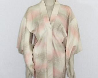 Vintage Robe  - Short Yukata - Kimono Style Robe - Soft Pastel Hues with Glittery Sparkle