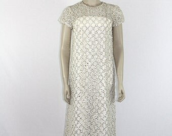 1960s Vintage Long Dress - White and Gold Sequined  - Full Length Short Sleeve Wedding Formal Gown
