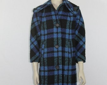 1960's Vintage Coat - Blue and Black Plaid Winter Coat