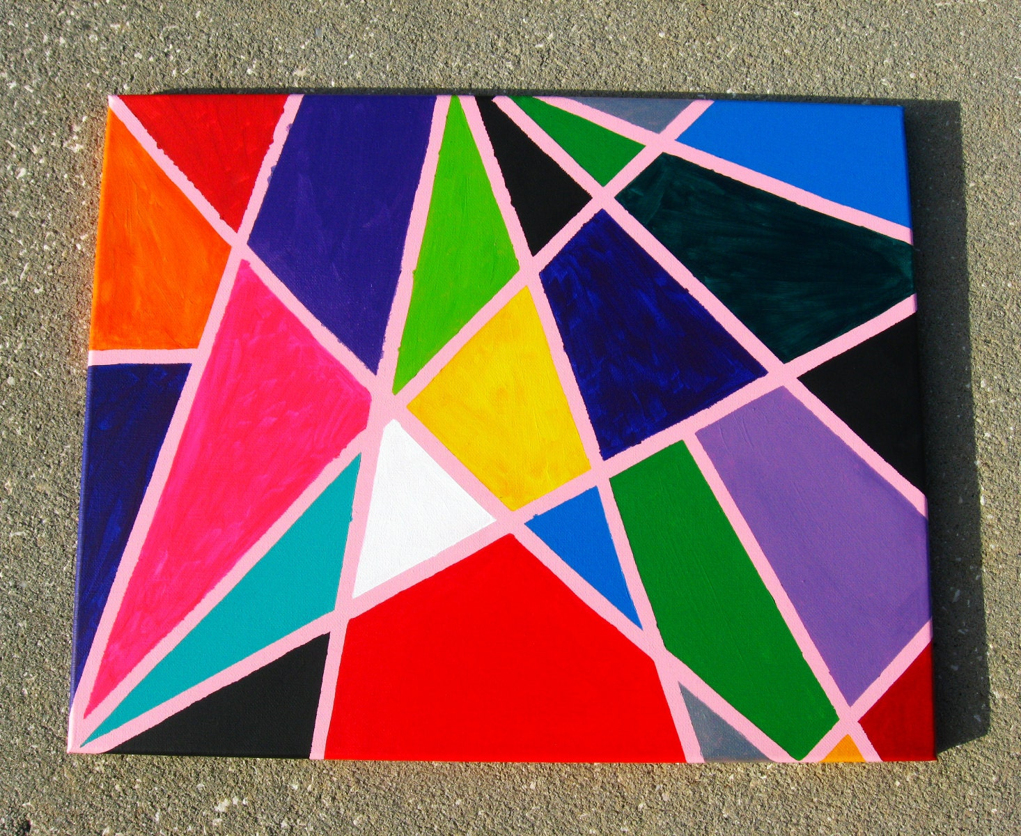 Modern geometric art multicolored abstract painting canvas for Geometric paint designs