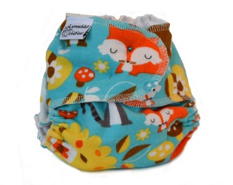 Woodland Forest Creatures One Size Cloth Diaper, Fitted Flannel Diaper - Add Snaps, Hook and Loop, or Pins