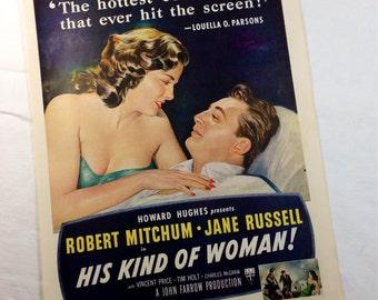His Kind of Woman movie ad 1952 robert mitchum jane russell deep blue, movie memoribilia, silver screen, magazine art, poster