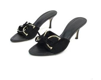 50% OFF SALE 90s Vintage Gucci Kitten Heels Black Leather Slip On Sandals Gucci Mules Gold Buckle Sexy High Heel Stiletto Slides (35.5)