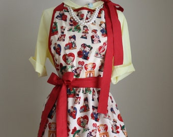 "Retro Apron ""BE MINE"" Vintage 1950's Valentines Day Fabric Apron"