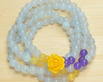 FREE SHIPPING Jade and Polymer Rose Necklace or Bracelet