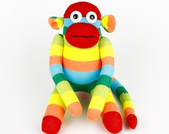 Get Well Christmas Gift Handmade Original Sock Monkey Stuffed Animal Doll Baby Toys