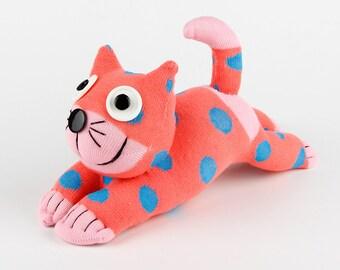 Children Christmas Gift Handmade Sock Pink Dot Cat Kitty Stuffed Animal Doll Baby Toys