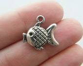 BULK 30 Fish charms antique silver tone FF22