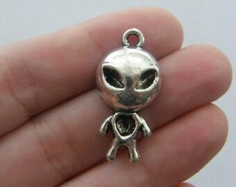 2 Alien pendants antique silver tone P12