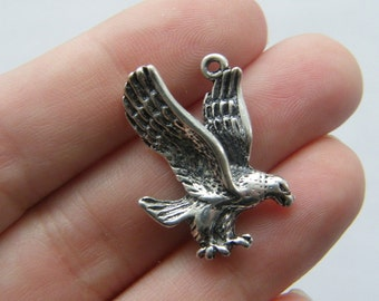 6 Eagle pendants antique silver tone B62