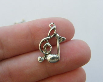 12 Double music note charms antique silver tone MN15