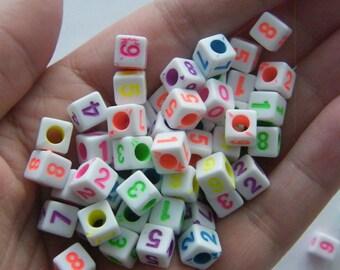 BULK 500 Acrylic square number random beads AB5