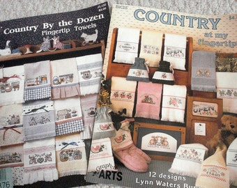Country at my Fingertips and Country by the Dozen Counted Cross Stitch Designs for Fingertip Towels