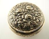 800 Silver Flower Box - Repousse - Vintage
