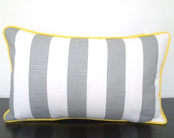 Yellow Stripe Pillow Etsy