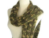Olive Green Scarf, Hand Knit Scarf, Winter Scarf, Bulky Scarf, Women