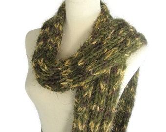 Olive Green Scarf, Hand Knit Scarf, Winter Scarf, Bulky Scarf, Women Scarf, Gift For Her, Fashion Scarf