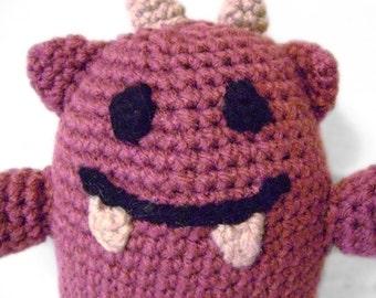 Cute Huggable Little Monster Dusty Rose Crocheted