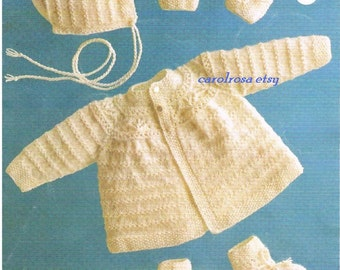 Download Knitting PATTERN - Baby Jacket, Bonnet, Mitts and Botees - 4 ply - 6 - 12 months PDF download