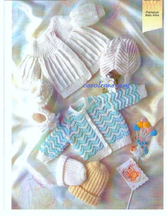 Knitting PATTERN Premature Baby Knits Jacket and by carolrosa