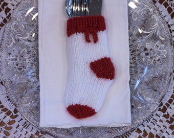 Christmas Cutlery Stocking Handknit