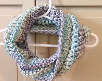 Kid Scarf - Infinity Cowl - Teal Green Blue and Cream Kid Toddler Cowl