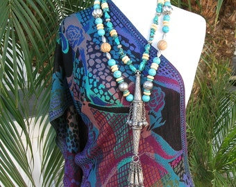 AMAZING OOAK Antique Indian Headdress Pendant, Real Turquoise,Bone & Indian Silver Beads, Investment Statement Necklace Set by SandraDesigns