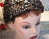 Vintage 1960s Gold Black Brocade Turban Style Pillbox Jeweled Hat Women Ladies, Mid Century Apparel Clothing, Gold with Sequins