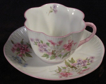Vintage Shelley Stocks England Bone China Cup and Saucer Oleander Pattern, Pink Floral, 1940s Fine China, Cup and Saucer Collection