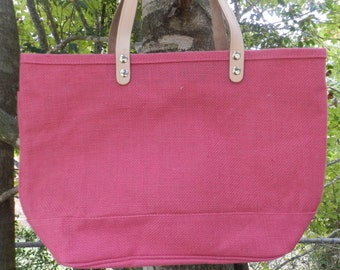 Personalized, monogrammed jute tote bag