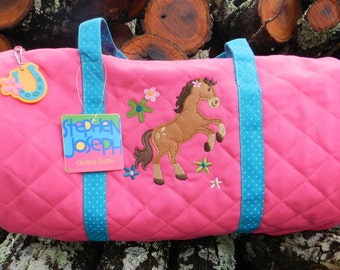 Personalized monogram girl horse Stephen Joseph quilted duffel bag,tote bag,girl birthday gift