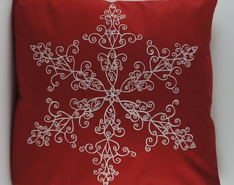 "Embroidered Decorative Pillow Cover - Snowflake - 18"" x 18"" Red (READY TO SHIP)"