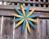 Teal & Yellow Starburst Hanging Garden Art Wreath for Outdoor and Indoor Color  handcrafted by Laughing Creek