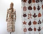 Vintage Dress - Autumn Leave Print in Neutral Tones - Medium - w Matching Bandana