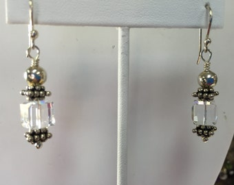 Swarovski Crystal Cube Dangle Earrings