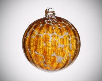 HAND BLOWN GLASS Christmas Ornament Suncatcher Ball Amber