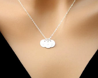 Three initial Satin disks Necklace - Sterling silver-Three Monogram Disks, Family initials, mom's necklace, Customized letter, Personal gift