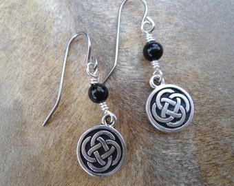 Girlfriend Gift  Celtic Knot Dangle Earrings Best Friend Gift  Black Onyx  Anniversary  Lovers Gift Symbolic Gift Girlfriend  Pagan Earrings