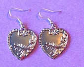 Victorian Heart Silver Pierced Earrings with Tibet Charms - Great Gift - Jewelry Findings Vintage Style Cheap