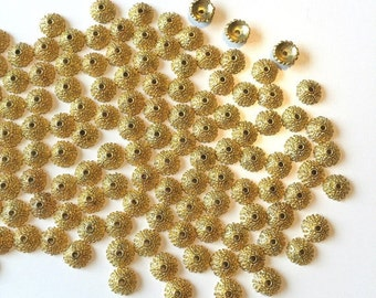 Gold Bead Caps 120 Findings for jewelry making supplies destash