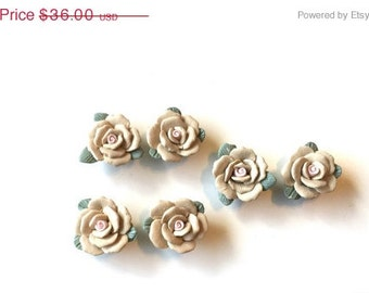 Handcrafted 6 Flowers Polymer Clay Beads for Jewelry Making Earrings Brooches Necklaces Nature Tan Brown Green Pink